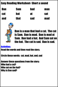 Easy Reading Worksheets | www.justmommies.com