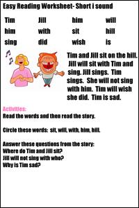 Printables Easy Reading Worksheets easy reading worksheets for short vowel sounds