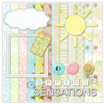 Download this spring digital scrapbooking kit for free.